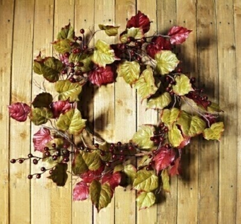Red and Green Leaves and Berries Artifical Wreath by Bloomsberry