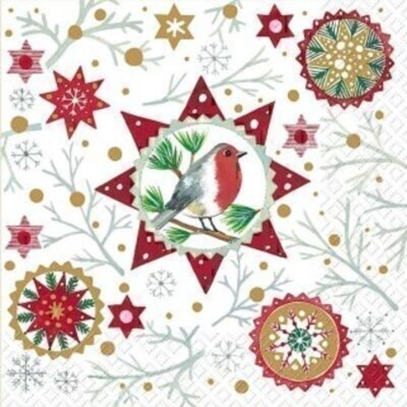 Robin Red Christmas Napkins by Stewo