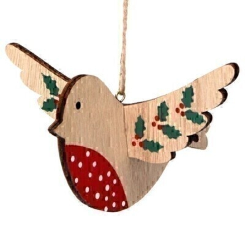 Robin With Holly Hanging Decoration Gisela Graham