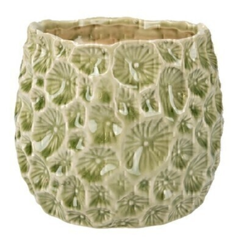 Sage Green Large Crater Pot Cover Gisela Graham