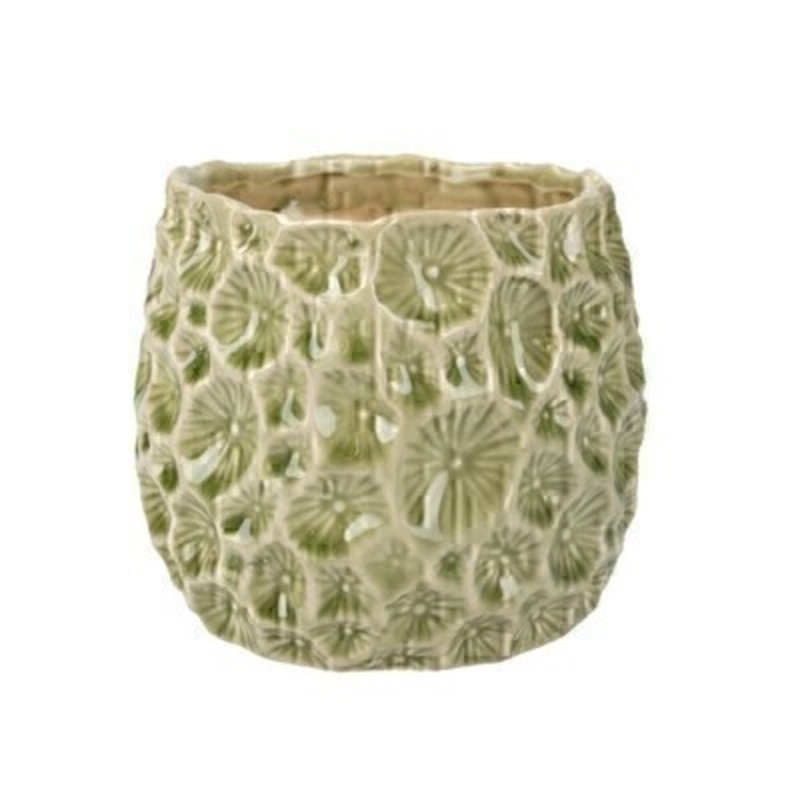 Sage Green Small Crater Pot Cover Gisela Graham