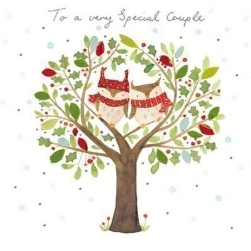 Special Couple Owls In Tree Christmas Card