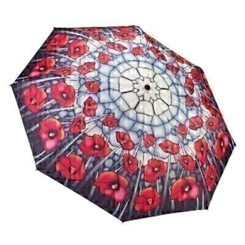 Stained Glass Poppies FOLDING Umbrella by Galleria