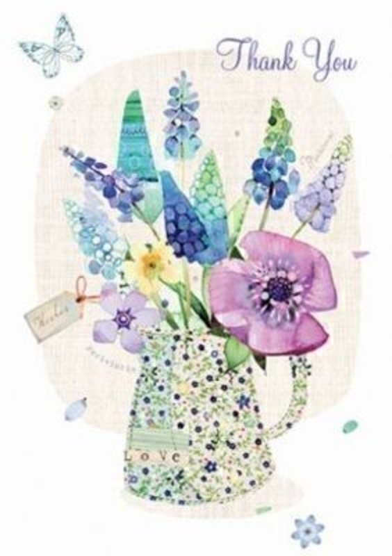 Thank you Card Jug of Flowers by Paper Rose