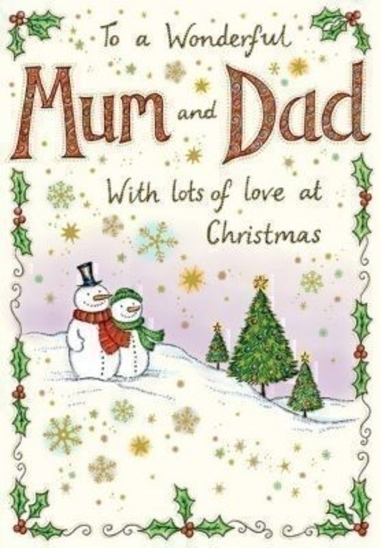 To Mum And Dad Snowman Christmas Card