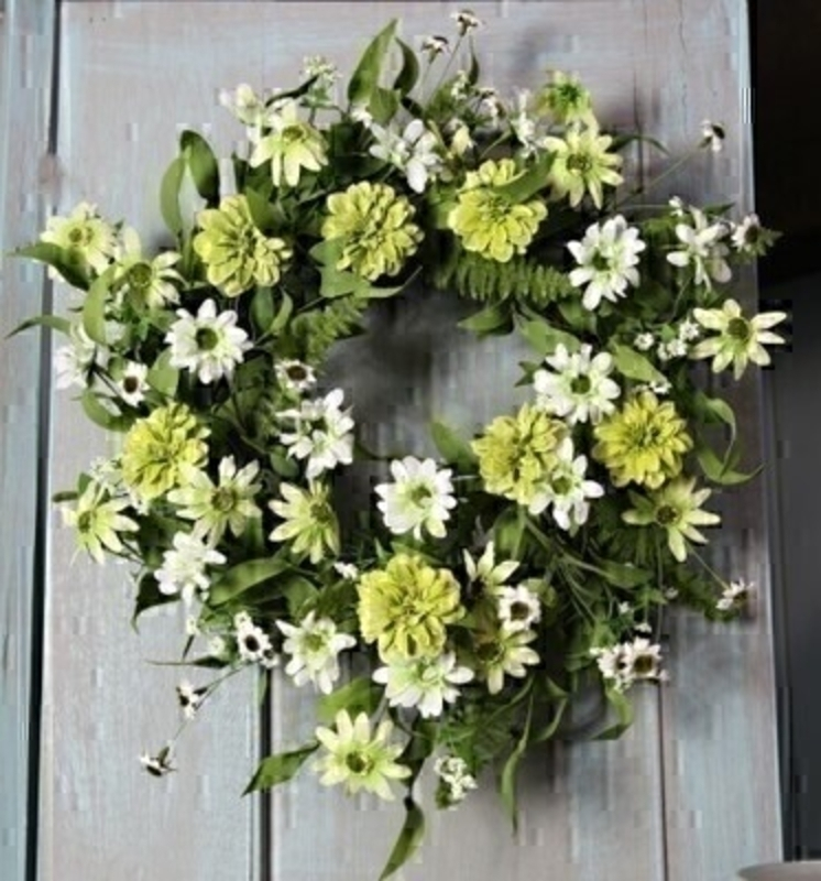White and Yellow Mixed Meadow Artifical Wreath by Bloomsberry