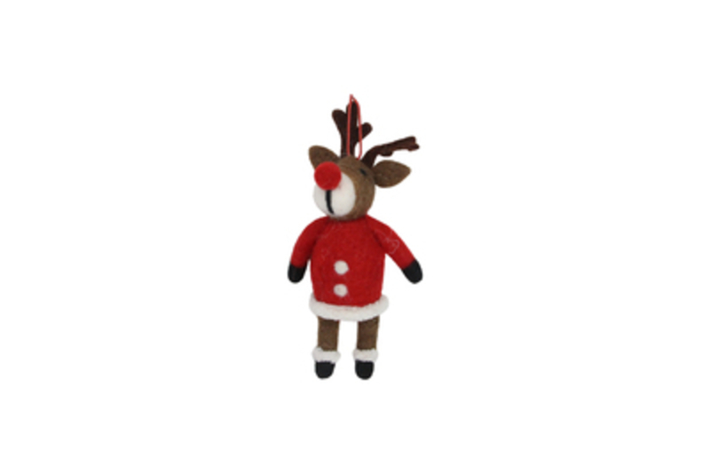 Wool Reindeer in Santa Coat Hanging Christmas Decoration