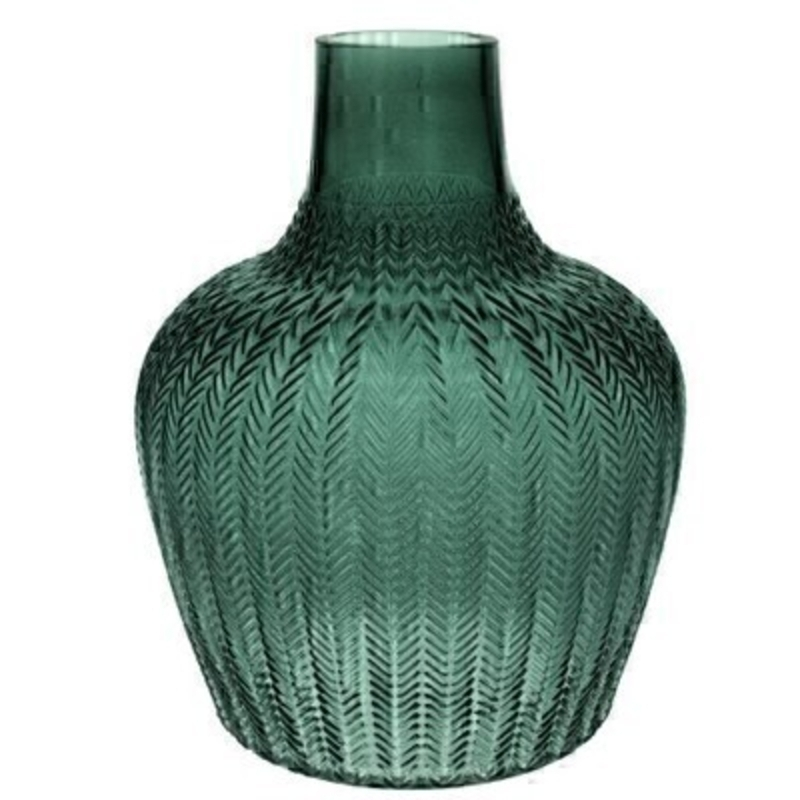 Xlarge Green Ribbed Geo Glass Vase By Gisela Graham